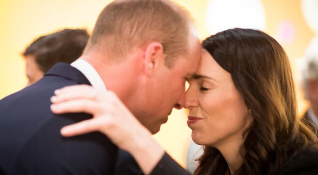 William is greeted by Jacinda Ardern (Mark Tantrum/New Zealand Governm/PA)