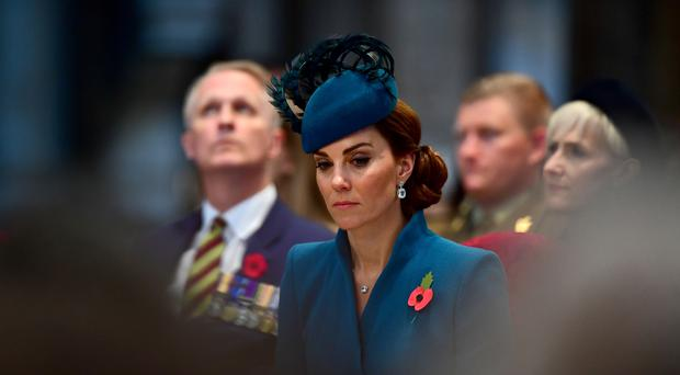 The Duchess of Cambridge attends the Anzac Day Service of Commemoration and Thanksgiving (Victoria Jones/PA)