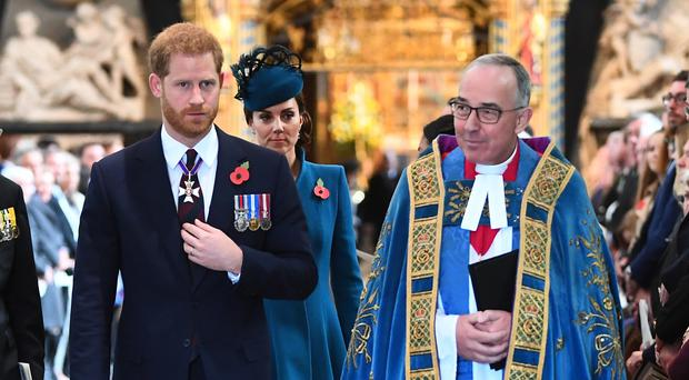 The Duke of Sussex with the Dean of Westminster Dr John Hall, and the Duchess of Cambridge, at the annual Anzac Day Service at Westminster Abbey (Victoria Jones/PA)