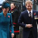 The Duchess of Cambridge and the Duke of Sussex attend the Anzac Day service of commemoration and thanksgiving at Westminster Abbey (Andrew Matthews/PA)