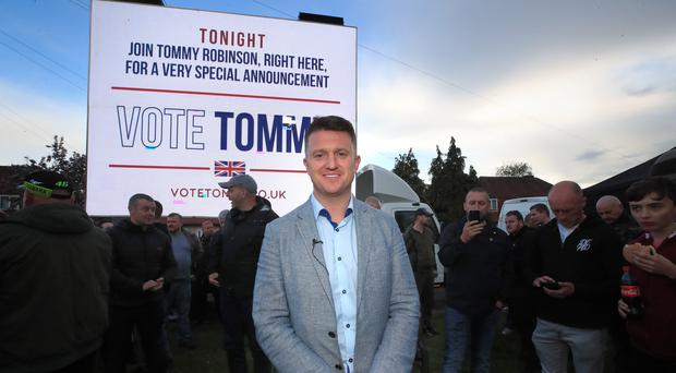 Former English Defence League leader Tommy Robinson at a barbecue and rally in Manchester (Peter Byrne/PA)