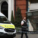 The Tiffany and Co. store on Sloane Street, after thieves smashed into the shop with a transit van before making off on mopeds with items stolen from the shop window (Jonathan Brady/PA Images).