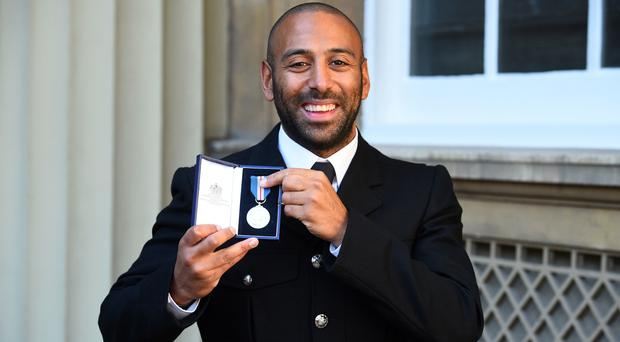 Pc Leon McLeod, who received the Queen's Gallantry Medal for his actions in the London Bridge terror attack (Kirsty O'Connor/PA)