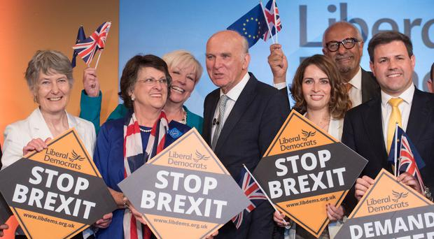 Sir Vince Cable during the launch of the Liberal Democrat campaign for European elections (Stefan Rousseau/PA)