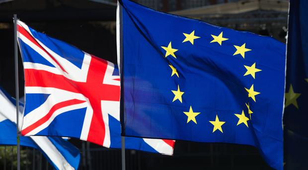 File photo dated 28/1/2019 of the Union and EU flags. (Jonathan Brady/PA)