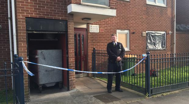 Police at a property on Vandome Close in east London where two women were found dead (Tom Pilgrim/PA)