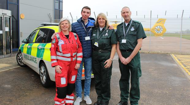 (Left to right) Suzie Thomson, Dean Beggs, Gaye McLean and Craig McLean (Scottish Ambulance Service/PA)