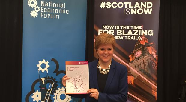 Nicola Sturgeon has announced a trade plan that aims to increase the value of exports from 20% to 25% of Scotland's GDP over the next 10 years at the National Economic Forum in Edinburgh (Tom Eden/PA)