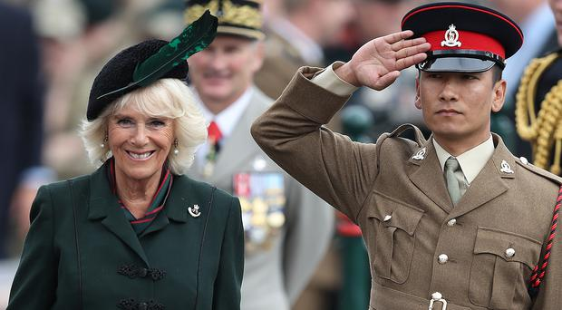 The Duchess of Cornwall attends the medals parade of the 4th Battalion The Rifles (Andrew Matthews/PA)