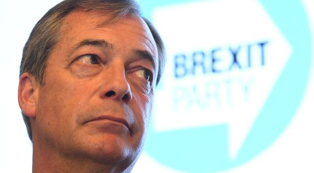 Nigel Farage speaks during the launch of a tranche of Brexit Party candidates (Victoria Jones/PA)