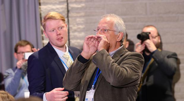 Tory Party member and former county councillor Stuart Davies heckled the Prime Minister in Llangollen (Aaron Chown/PA)