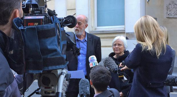 Thomas Orchard's mother Alison and father Ken speak to the media outside Bristol Crown Court at a previous hearing (Claire Hayhurst/PA)