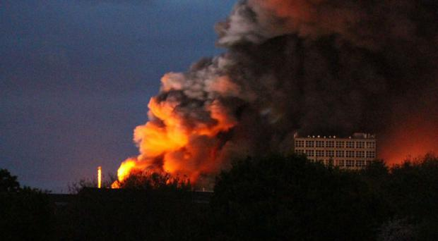 A huge blaze in Bristol has forced nearby homes to be evacuated (@faygate/PA)