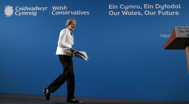 Prime Minister Theresa May at the Welsh Conservative party conference at Llangollen Pavilion, Llangollen following the voting in the English council elections (Aaron Chown/PA)