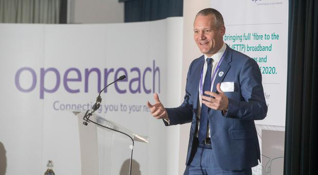 Matthew Kirkman speaking on stage (Openreach/PA)