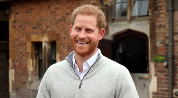 Prince Harry, Duke of Sussex, speaks to the media at Windsor Castle in Windsor following the announcement that his wife, Meghan, Duchess of Sussex had given birth to a son