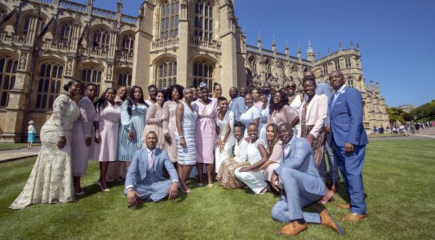 The Kingdom Choir outside St George's Chapel in Windsor (Steve Parsons/PA)