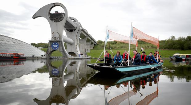 The boat launched on the canal at the Falkirk Wheel (Jane Barlow/PA)