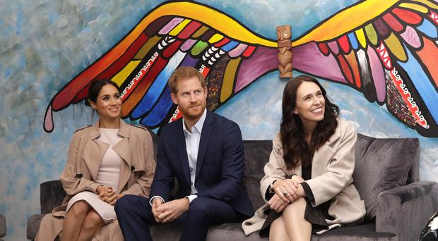 The Duke and Duchess of Sussex with New Zealand Prime Minister Jacinda Ardern (Kirsty Wigglesworth/PA)