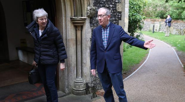 Prime Minister Theresa May arrives with her husband Philip to attend a church service near her Maidenhead constituency (PA/Andrew Matthews)