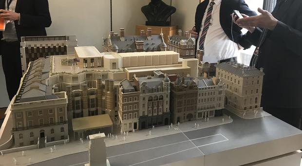 Model of the planned building work on the northern estate for the parliamentary decant, with lead architect Paul Monaghan (Jennifer McKiernan/PA)