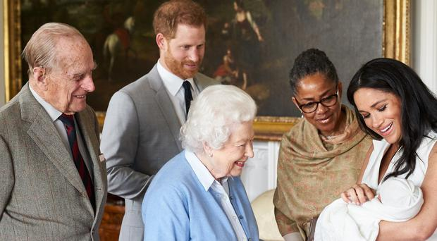 The Duke and Duchess of Sussex are joined by her mother, Doria Ragland, as they show their son Archie Harrison Mountbatten-Windsor to the Queen and the Duke of Edinburgh at Windsor Castle (Chris Allerton/copyright SussexRoyal)