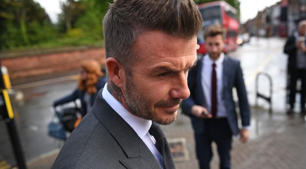 Football star David Beckham arriving at Bromley Magistrates' Court (Victoria Jones/PA)