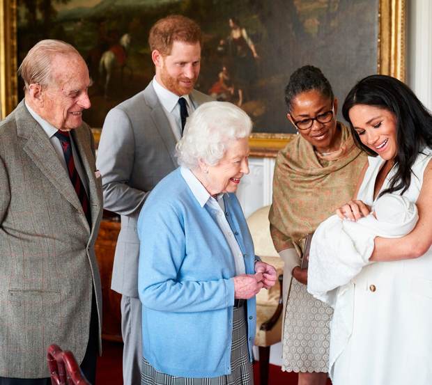 Duke and Duchess of Sussex with their newborn baby son Archie Harrison Mountbatten-Windsor with Meghan's mother, Doria Ragland, the Queen and the Duke of Edinburgh at Windsor Castle