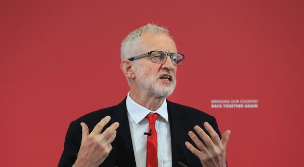 Labour Party leader Jeremy Corbyn launches his party's European election campaign at the Drill Hall Library at the University of Kent in Chatham. (PA/Gareth Fuller)