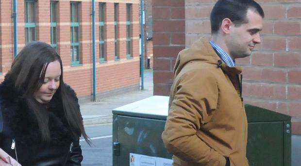 Emma Cole and Luke Morgan arriving at Stafford Crown Court (PA)
