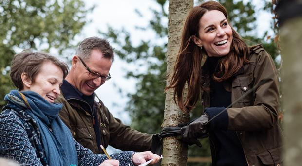 The Duchess of Cambridge, pictured in February, with Andree Davies and Adam White, of Davies White Landscape Architect (Kensington Palace)