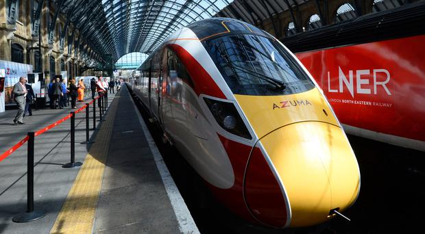 One of LNER's new Azuma trains at London King's Cross station (Kirsty O'Connor/PA)
