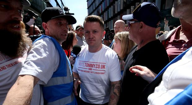 Tommy Robinson arrives at court (Jonathan Brady/PA)