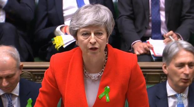Theresa May speaks during Prime Minister's Questions in the House of Commons (Commons/PA)