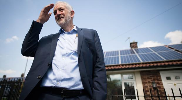 Labour leader Jeremy Corbyn during a visit to Salford (Stefan Rousseau/PA)