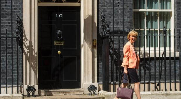 Andrea Leadsom outside Downing Street (PA)