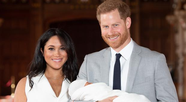 The Duke and Duchess of Sussex with their baby son Archie Harrison Mountbatten-Windsor (Dominic Lipinski/PA)