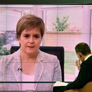 First Minister of Scotland Nicola Sturgeon appearing on The Andrew Marr Show. (Jeff Overs/BBC)