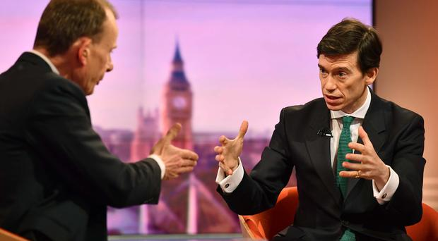 International Development Secretary Rory Stewart appearing on BBC1's The Andrew Marr Show (Jeff Overs/BBC/PA)