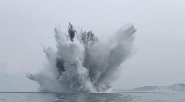 The detonation of the suspected German wartime bomb (MOD/Royal Navy)
