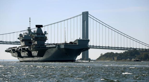 HMS Queen Elizabeth arriving in New York City (Dave Jenkins/PA)
