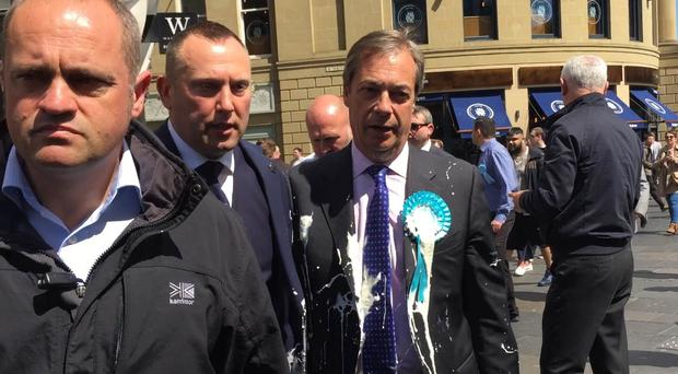 Nigel Farage after he was doused in milkshake during a campaign walkabout in Newcastle (Tom Wilkinson/PA)