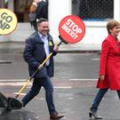 First Minister Nicola Sturgeon campaigns alongside lead SNP European election candidate Alyn Smith MEP (centre) and Deirdrie Brock MP (left) in Leith, Edinburgh (Jane Barlow/PA)