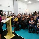 First Minister Nicola Sturgeon gives a speech setting out the SNP's plans to reduce child poverty at Forestbank Community Centre in Livingston while on the General Election campaign trail in 2015 (Andew Milligan/PA)