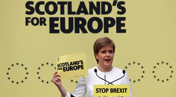 First Minister Nicola Sturgeon said the SNP would vote against Theresa May's deal (Andrew Milligan/PA)