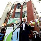 Labour Party leader Jeremy Corbyn speaks during a visit to Finsbury Park Mosque in London, on the second anniversary of the Finsbury Park terrorist attack (David Mirzoeff/PA)
