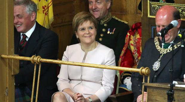 First Minister Nicola Sturgeon during the opening ceremony of the General Assembly at Assembly Hall, Edinburgh (Jane Barlow/PA)