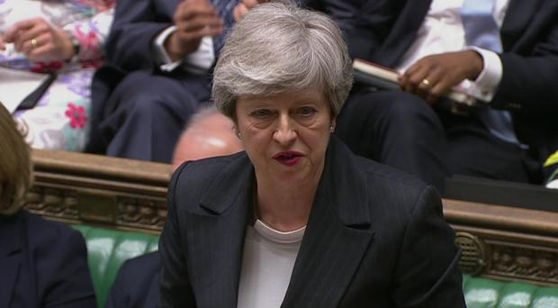 Prime Minister Theresa May speaks during Prime Minister's Questions in the House of Commons, London (PA)