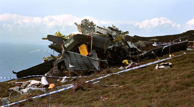Wreckage of a Chinook helicopter that crashed on the Mull of Kintyre almost 25 years ago (Chris Bacon/PA)