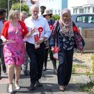 Labour leader Jeremy Corbyn canvassing in Worthing, West Sussex (Andrew Matthews/PA)